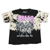 Women's Juniors Black Tie Dye Kiss 78 Tour Crop Top Tee T Shirt