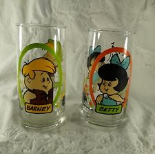 Vintage Barney & Betty Rubble Flintstone Kids Glasses Pizza Hut 1986