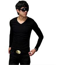 Men Fashion Slim V-Neck Fit Cotton Long Sleeve Casual T-Shirt Blouse Tops hot F1