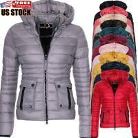 Women's Winter Warm Down Cotton Jacket Ladies Lightweight Slim Hooded Coat Parka
