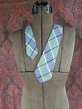 """New listing Vintage 1930s 1940s necktie tie green blue red white plaid 45 1/4"""" long"""