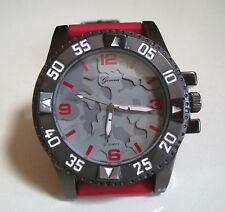Men's Geneva Camouflage Red Silicon Band Dressy/Casual Fashion Wrist Watch