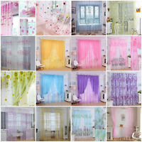 Hot Colorful Print Sheer Curtains Room Divider Balcony Tulle Room Divider