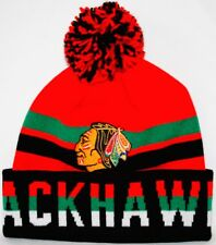 Chicago Blackhawks Mitchell & Ness NHL Trifecta Premium Cuffed Knit Hat w/ Pom