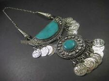 N4436 Vintage Turquoise Resin silver tone coin tribal gypsy Bohemian Necklace