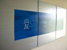 XXL Gemälde Tryptichon Acryl Weisheit langen Lebens Silber Blau Triptychon Drei
