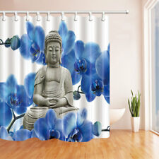 Zen Buddha And Blue Flower Waterproof Fabric Bathroom Shower Curtain 71Inch