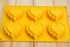 Cake Mold Soap Mold 6-Heart Flexible Silicone Mould For Candy Chocolate