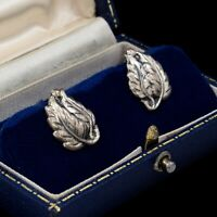 Antique Vintage Art Deco Sterling Silver Curling Leaf Repousse Cluster Earrings