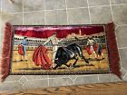 Vintage Matador Tapestry Wall Hanging W/ Fringed Edges Spain Bull Fighting 19x39