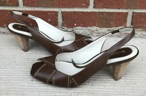 Naturalizer Whistler Women Brown Slingback Open Toe Heel Shoe Size 7 M
