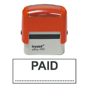 """Trodat 4911 """"PAID"""" Business Stamp Name Address Self Inking Office Rubber Stamps"""
