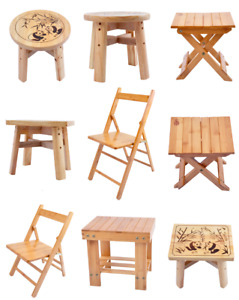 Kids Children Bamboo Wood Wooden Folding Stool Fishing Chair Seat Easy Foldable