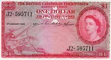 British Caribbean Territories One 1 Dollar Queen Elizabeth II Date 1955
