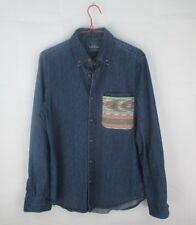 Topman Denim Blue Button Down Collar Shirt Mens Size Small #84G3