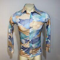 Vtg 60s 70s Disco Shirt Michael Low SATURDAY NIGHT FEVER Hippie MOD Mens MEDIUM