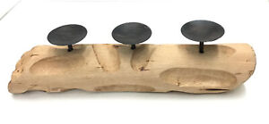"""Reclaimed Wood Three Candle Holder 20""""x 5.5""""x 4"""""""