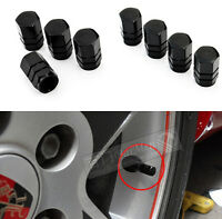Wheel Rim Tyre Metal Air Valve Caps Dust Covers Car Bike Van Metal HS9 4PC BLACK