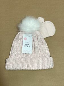 Capelli new york toddler girls pink hat and mittens  faux fur pom 2T-4T