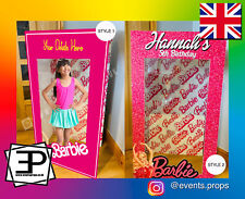 Personalised Childs Pink Barbie Ken Style Selfie Box Photo Party Box Booth Prop