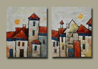 "2 Acrylic Abstract Street paintings On Canvas by Hunoz. 16"" x 20"" each"