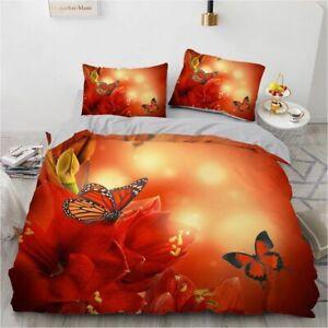 3D Red Rose Bedding Set Custom King Size 3PC Duvet Cover Set Blanket Pillow Case