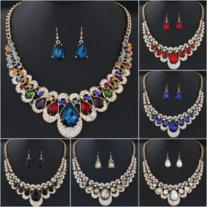 925 Silver Gold Cubic Zirconia Bridal Wedding Necklace Earrings Jewelry Set Gift