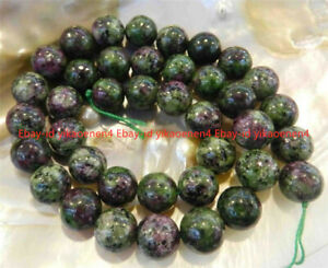 """8mm Red Green Ruby Zoisite Round Gemstone Loose Beads 15"""" Strand"""