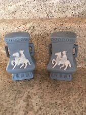 Horse/Rider Salt And Pepper Shakers. Blue Wedge wood Like