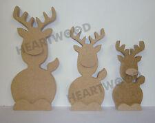 3D Reindeer trio shape in MDF (in 3 partsS)-220mm/180mm/150mm x 18mm/Christmas