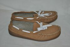 MINNETONKA mens 13 LOAFER slip on brown LEATHER  casual SHOES MOCCASINS L@@k