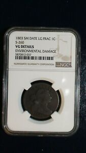 1803 Draped Bust Cent NGC VERY GOOD Small Date Large Fraction 1C Penny Coin!