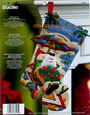 "Bucilla Coolin' It ~ 18"" Felt Christmas Stocking Kit #86105, Santa, Beach, Ocean"