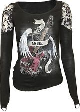 Spiral Direct ROCK ANGEL Long Sleeve FingerLoop Shoulder Lace Top Tee Goth Biker