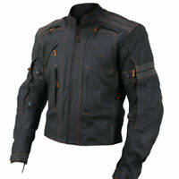 Black Motorbike Leather Jacket Men Motorcycle Sports Racing Bikers Armor Jackets