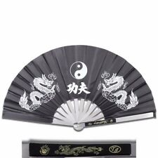 Tai Chi Black Metal Steel Kung Fu /Wushu Martial Arts Fighting Fan Dragon NEW