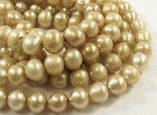 9mm Beige Color Potato Freshwater Pearl Beads,Genuine Cultured Pearl Beads(#562)