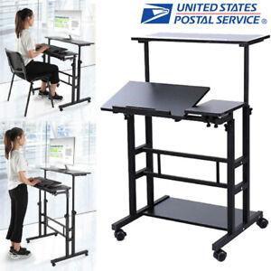 Mobile Standing Desk Adjustable Wheel Sit Stand up Computer Workstation Table US
