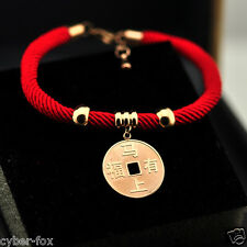Red String Lucky Stainless Steel Coin Charm Bangle Bracelet For Health & Wealth