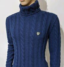 New Emporio Armani EA7 Mens Turtle Neck Jumper Cable Knit Sweater Sz M RRP £295