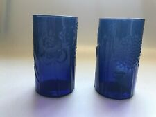 """2 VINTAGE ARABIA OF FINLAND GLASS BLUE OR VIOLET DRINKING GLASSES  4.5"""" TALL"""