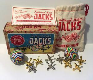 Retro traditional metal jacks game boxed 10 all metal jacks 2 superfast balls.