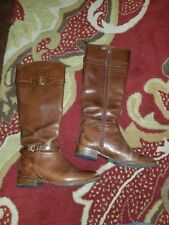TORY BURCH CALISTA 5217 Brown Leather Riding Boots Women's Size 9 M