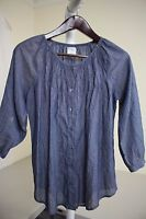 Van Heusen 100% Cotton Blue & Gray Striped Ruffled 3/4 Sleeve Blouse - Small