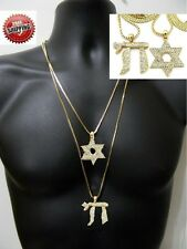 Hip Hop Iced Out Jewish Star of David Hebrew Life Letter Chai Box Chain Cross