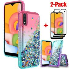 For Samsung Galaxy A01 A20S Case Bling Glitter Hybrid Cover/Full Tempered Glass