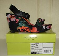NIB Ted Baker sz EU 39/US 8 Cristata black tropical floral fabric wedge sandals