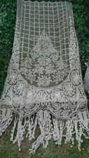 DIVINE ANTIQUE FRENCH HANDWORKED OLD TEA HUE CHATEAU LACE CURTAIN PORTIERE c1880