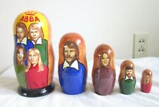 VINTAGE NESTING DOLLS LOT ABBA WOOD WOODEN TOY NR ROCK MUSIC BAND