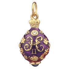 Faberge Egg Pendant / Charm with Monogram 2.6 cm #5201-04